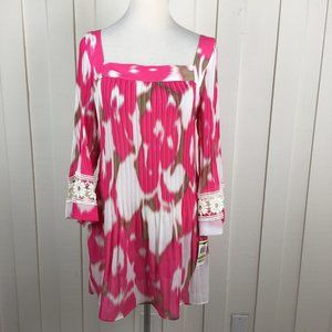Alfani Pink Floral Tunic Embroidered Bell Sleeve